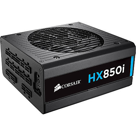 Corsair HX850i Power Supply - Internal - 120 V AC, 230 V AC Input - 850 W / 3.3 V DC, 5 V DC, 12 V DC, -12 V DC, 5 V DC - 1 +12V Rails - 1 Fan(s) - 92% Efficiency
