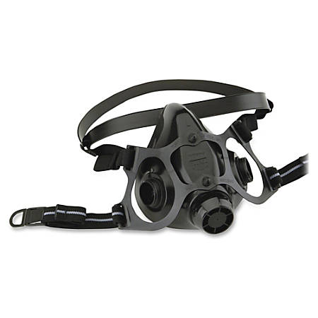 NORTH 7700 Series Half Mask Respirators - Latex-free - Large Size - Chemical, Contaminant, Gases, Vapor, Particulate, Smoke Protection - Silicone, Woven Strap - Black - 1 Each
