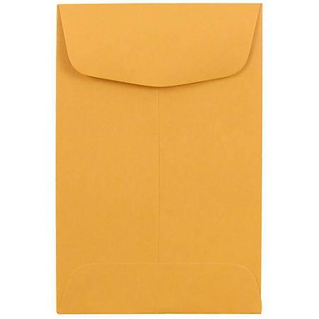 """JAM Paper® #4 Coin Envelopes, 3"""" x 4-1/2"""", Brown Kraft, Pack Of 50 Envelopes"""