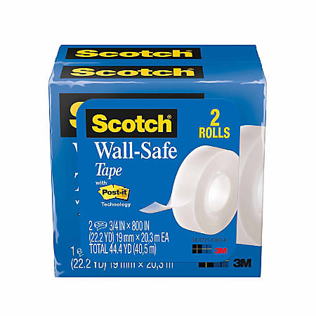 "Scotch® Wall-Safe Tape, 3/4"" x 800"", Clear, Pack Of 2 Rolls"