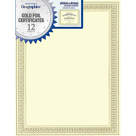 """Geographics® 30% Recycled Blank Parchment Certificates, 8 1/2"""" x 11"""", Flourish, Pack Of 12"""