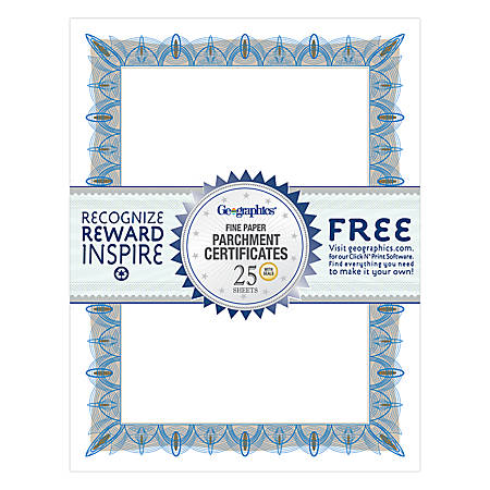 "Geographics® 30% Recycled Blank Parchment Certificates, 8 1/2"" x 11"", Unique Blue, Pack Of 25"