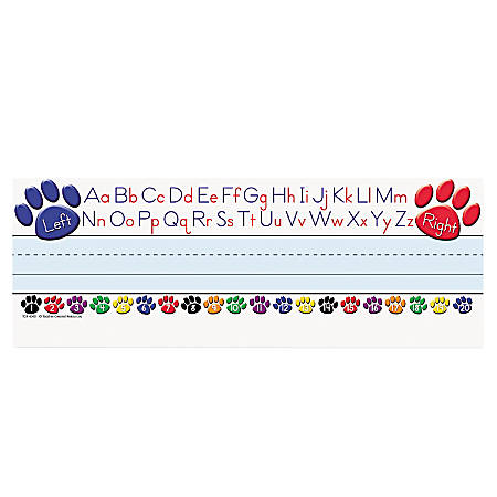 "Teacher Created Resources Left/Right Alphabet Nameplates, 11 1/2"" x 3 1/2"", Paw Prints Pack Of 36"