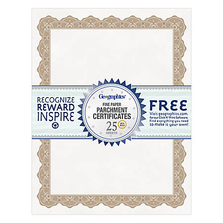 "Geographics® 30% Recycled Blank Parchment Certificates, 8 1/2"" x 11"", Optima Gold, Pack Of 25"