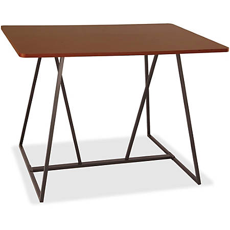 "Safco Oasis Standing-Height Teaming Table - High Pressure Laminate (HPL), Cherry Top - 60"" Table Top Width x 48"" Table Top Depth - 42"" Height - Assembly Required"