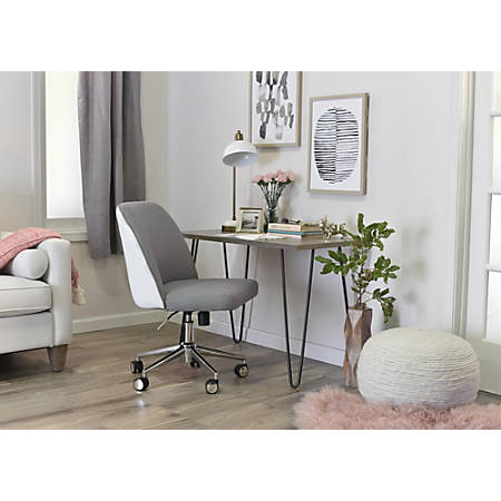 Elle Décor Maia Mid-Back Task Chair, Light Gray/White/Chrome
