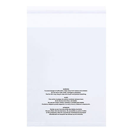 """Office Depot® Brand Resealable 1.5-mil Poly Bags With Suffocation Warning, 24"""" x 18"""", Clear, Pack Of 100 Bags"""