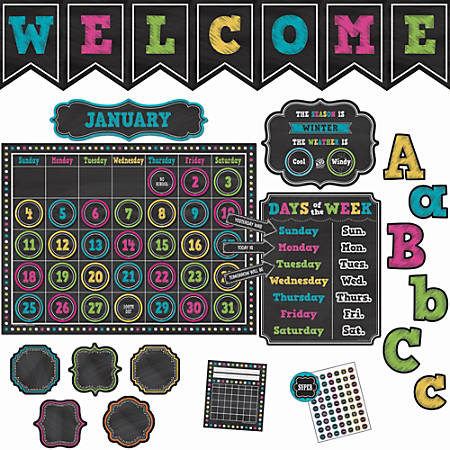 """Teacher Created Resources Chalk Brights Accents Brd Set - Durable, Damage Resistant - 0.50"""" Height x 18"""" Width x 30.25"""" Length - Multicolor - 1 Set"""