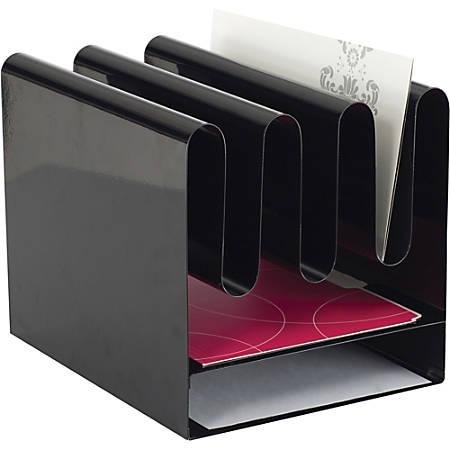 "Safco Wave Desktop File Organizers - 7 Compartment(s) - 10"" Width x 11.5"" Depth - Desktop - Black - Steel - 1Each"