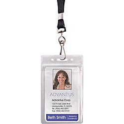 Advantus ID HolderLanyard Combo Pack Vertical