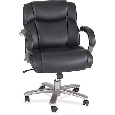 Safco® Big And Tall Bonded Leather Mid-Back Chair, Black