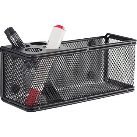 "Onyx it! Mesh Magnetic Marker Basket - 3"" Height x 8"" Width x 3.3"" Depth - Wall Mountable - Black - Steel, Mesh - 1Each"