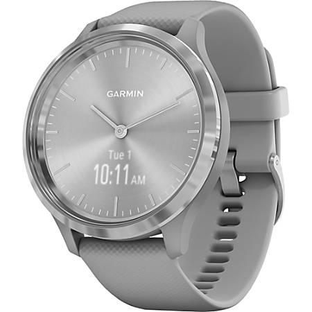 "Garmin vivomove 3 GPS Watch - Touchscreen - Bluetooth - GPS - 120 Hour - Round - 1.73"" - Silver Stainless Steel - Powder Gray Case - Stainless Steel Bezel"