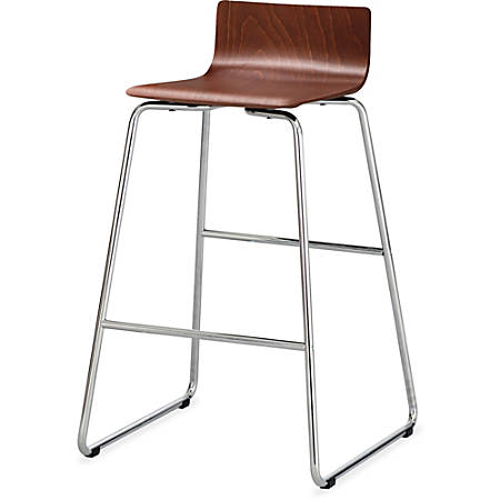 """Safco Bosk Stool - Beech Plywood Cherry Seat - Chrome Plated Steel, Epoxy Frame - 20.8"""" Width x 20.5"""" Depth x 35"""" Height"""
