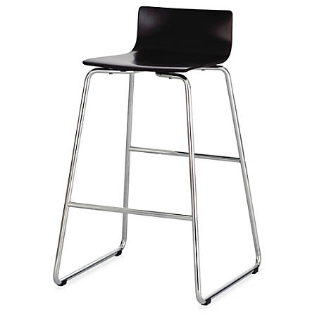 """Safco Bosk Stool - Beech Plywood Espresso Seat - Chrome Plated Steel, Epoxy Frame - 20.8"""" Width x 20.5"""" Depth x 35"""" Height"""