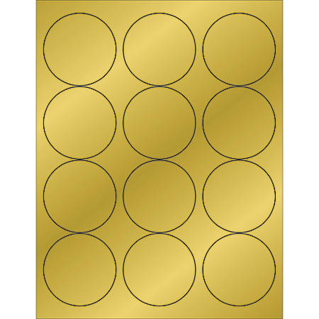 "Office Depot® Brand Foil Circle Laser Labels, LL217GD, 2 1/2"", Gold, Case Of 1,200"