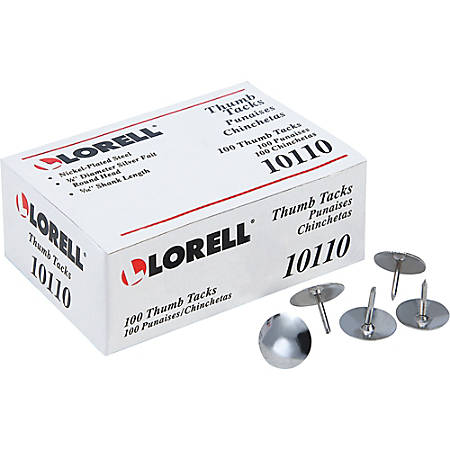 "Lorell® 5/16"" Steel Thumb Tacks, Silver, Pack of 100"