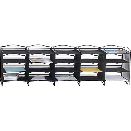 """Safco Onyx Mail Sorter - 500 x Sheet - 20 Compartment(s) - Compartment Size 3.75"""" x 11"""" x 12.50"""" - Black - 1Each"""
