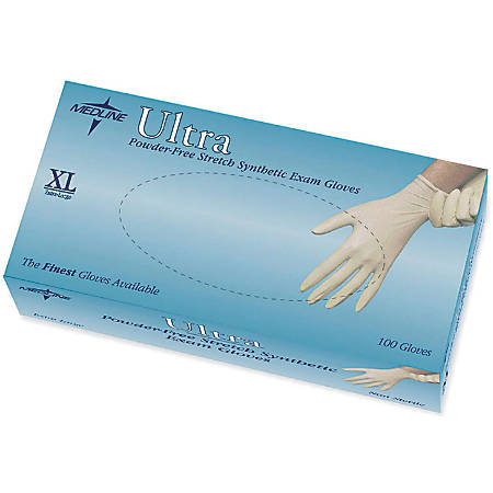 Ultra Powder-Free Synthetic Vinyl Exam Gloves, X-Large, Off White, 100 Gloves Per Box, Case Of 10 Boxes