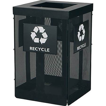 """Safco Onyx Waste Receptacle - Overlapping Lid - 36 gal Capacity - Durable, Powder Coated - 29.8"""" Height x 19.5"""" Width x 19.5"""" Depth - Steel - Black"""