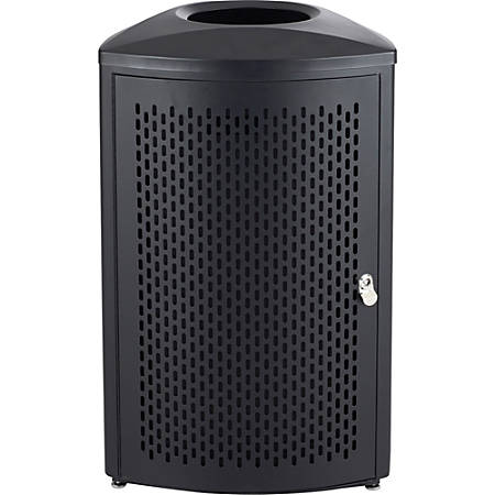 "Safco Nook Indoor Waste Receptacle - 20 gal Capacity - Triangular - Durable, Powder Coated, Perforated, Corrosion Resistance, Latch Door - 34"" Height x 21"" Width x 21"" Depth - Steel - Black"