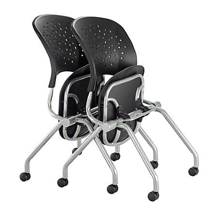Safco® Reve Plastic Nesting Chairs, Black/Silver, Set Of 2 Chairs