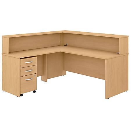"Bush Business Furniture Studio C 72""W x 30""D L-Shaped Reception Desk With Shelf And Mobile File Cabinet, Natural Maple, Standard Delivery"