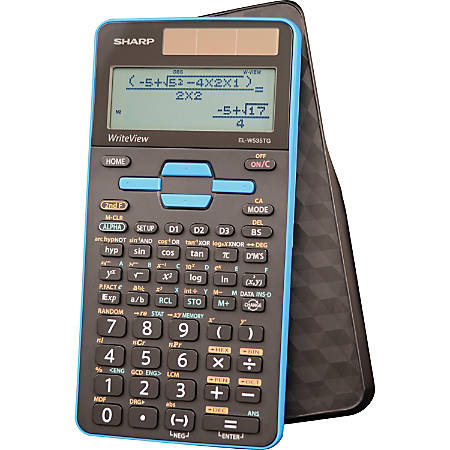 "Sharp EL-W535TGBBL Scientific Calculator with WriteView™ 4 Line Display - 422 Functions - Sign Change, Independent Memory, Dual Power, Protective Hard Shell Cover, Durable - 4 Line(s) - 16 Digits - LCD - Battery/Solar Powered - 0.6"" x 3.1"" x 6.5"" - Black, Blue"