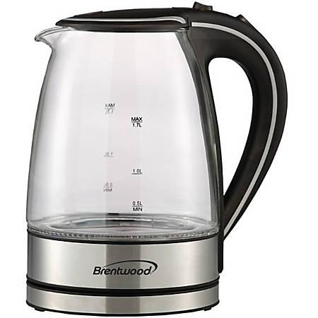 Brentwood KT-1900BK Borosilicate Glass Tea Kettle, 1.7L, Black