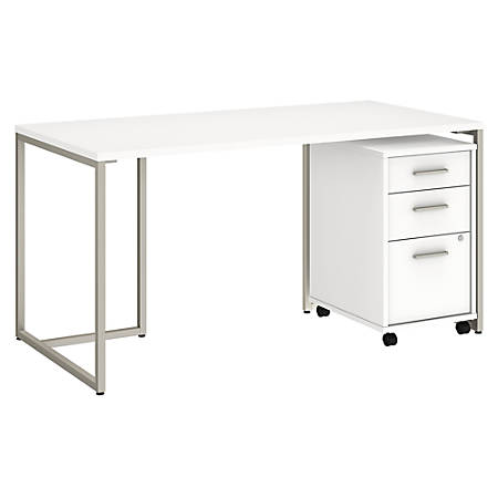 "kathy ireland® Office by Bush Business Furniture Method Table Desk with 3 Drawer Mobile File Cabinet, 60""W, White, Premium Installation"