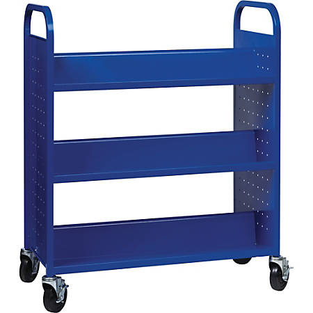 "Lorell Double-sided Book Cart - 6 Shelf - Round Handle - 5"" Caster Size - Steel - 38"" Width x 18"" Depth x 46.3"" Height - Blue"