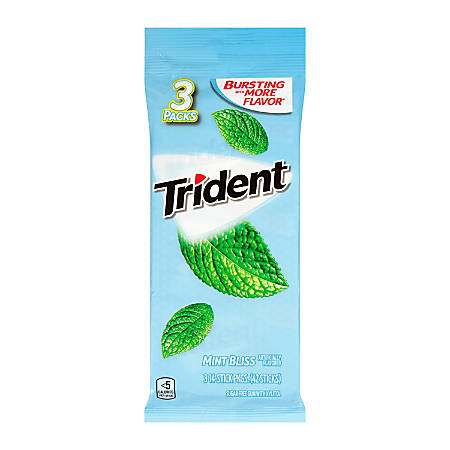 Trident® Mint Bliss Gum, 14 Pieces Per Pack, Bag Of 3 Packs, Box Of 3 Bags