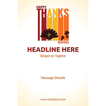 Adhesive Sign, Happy Thanks Giving, Vertical