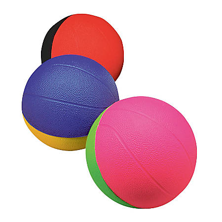 "Poof Products Inc. Foam Pro 4"" Mini Basketballs, Assorted Colors, Pack Of 3"