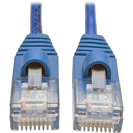 Tripp Lite 1ft Cat5e Cat5 Snagless Molded Slim UTP Patch Cable RJ45 M/M Blue 1'