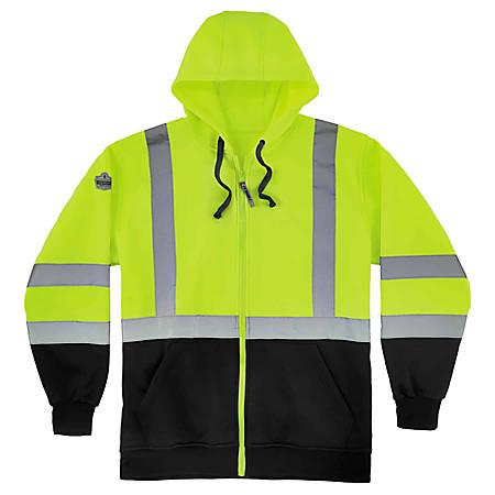 Ergodyne GloWear 8372 Class 3 Hi-Vis Zip-Up Hoodie, Medium, Black/Lime