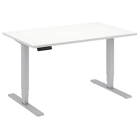 "Bush Business Furniture Move 80 Series 48""W x 30""D Height Adjustable Standing Desk, White/Cool Gray Metallic, Standard Delivery"