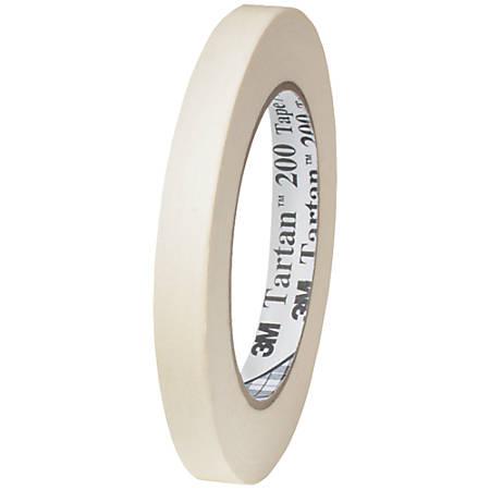 """3M™ Tartan 200 Masking Tape, 3"""" Core, 0.5"""" x 60 Yd., Natural, Case Of 12"""