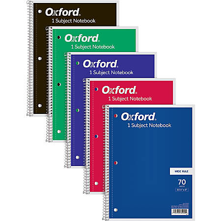 "TOPS 1-Subject Spiral Notebook, Wide Rule, Perforated, 10 1/2"" x 8"", 70 Sheets, Assorted Colors"