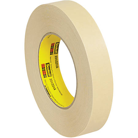 "3M™ 231 Masking Tape, 3"" Core, 1"" x 180', Tan, Case Of 12"