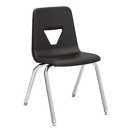 """Lorell® Classroom Student Stack Chairs, 18""""H Seat, Black/Silver, Set Of 4"""