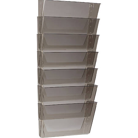 "Storex Stacking Wall Pocket Set - 7"" Height x 4"" Width - Wall Mountable - Smoke - Plastic - 7 / Set"