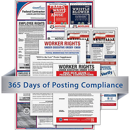 TFP Federal Contractors Labor Law Poster - White, Blue