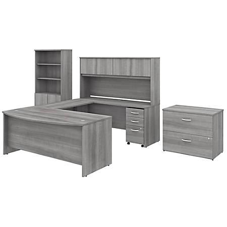 "Bush Business Furniture Studio C 72""W x 36""D U-Shaped Desk With Hutch, Bookcase And File Cabinets, Platinum Gray, Standard Delivery"