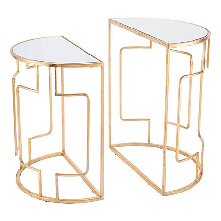 Zuo Modern Roma End Tables, Crescent, Mirror/Gold, Set Of 2 Tables