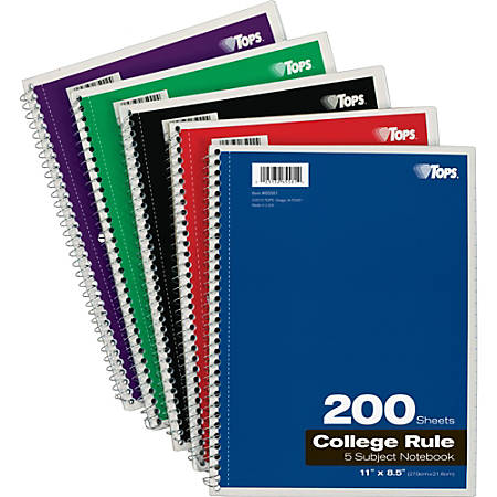 """TOPS 5 - subject College - ruled Notebooks - Letter - 200 Sheets - Wire Bound - 8 1/2"""" x 11"""" - 0.3"""" x 8.5""""11"""" - Assorted Paper - Black, Red, Blue, Green, Purple Cover - Divider, Perforated - 1Each"""