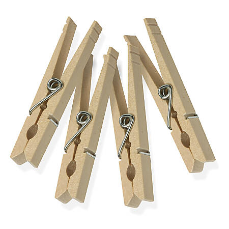 "Honey-Can-Do Classic Wooden Clothespins, 9/16""H x 7/16""W x 3 5/16""D, Natural, Pack Of 200"