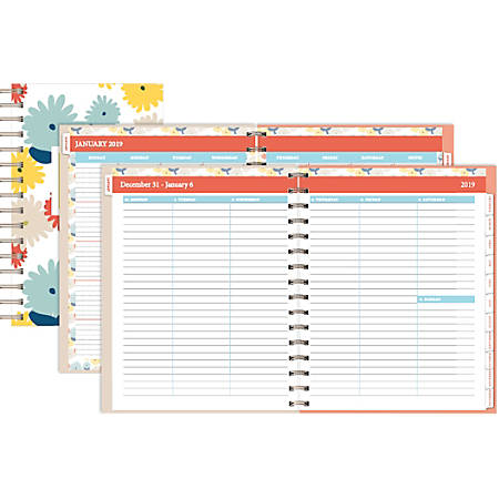 """Office Depot® Brand Blooms Weekly/Monthly Planner, 5"""" x 8"""", Floral, January to December 2019"""