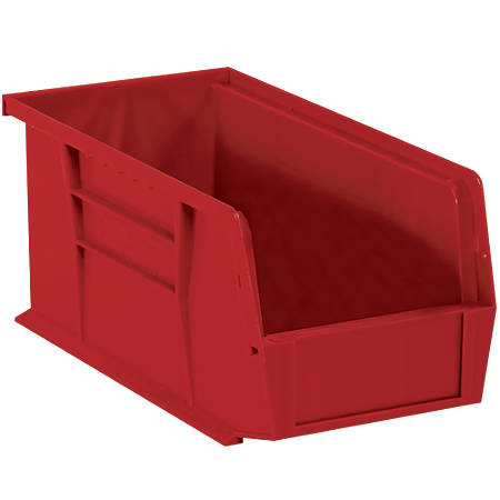 "Office Depot® Brand Plastic Stack And Hang Bin Boxes, 10 7/8"" x 5 1/2"" x 5"", Red, Pack Of 12"