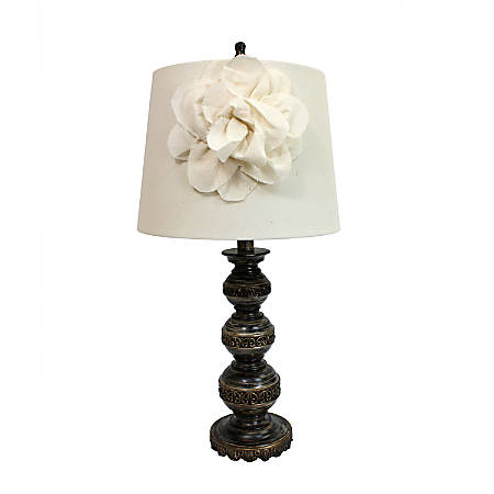 """Elegant Designs Stacked Ball Table Lamp, 25 1/2""""H, Aged Bronze Base/Linen Shade"""